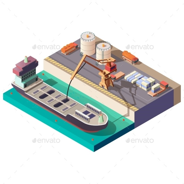 Petroleum Transporting By Ship Isometric Vector - Industries Business