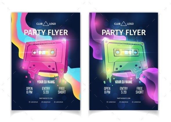 Night Club Musical Party Cartoon Vector Flyers - Backgrounds Business