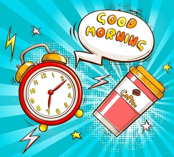 Good Morning Cartoon Vector Banner Template - Miscellaneous Conceptual