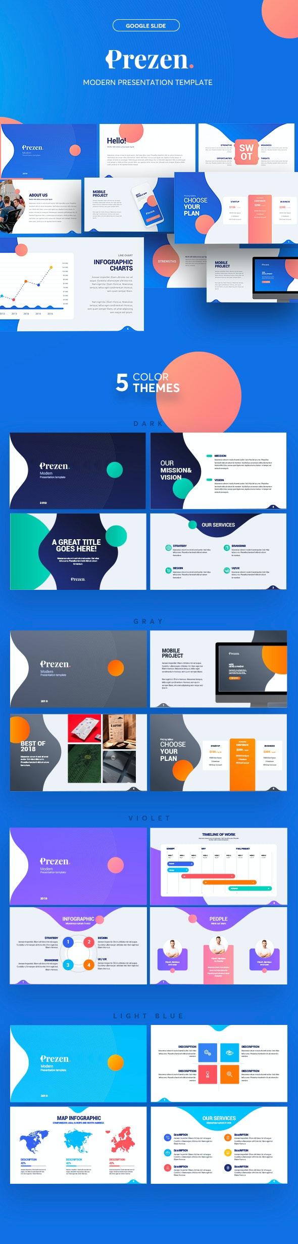 Prezen - Modern Google Slide Template - Google Slides Presentation Templates