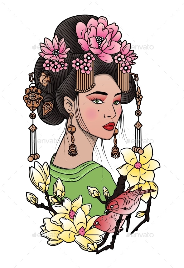 Geisha Among Blooming Flowers and Birds Japanese - Religion Conceptual