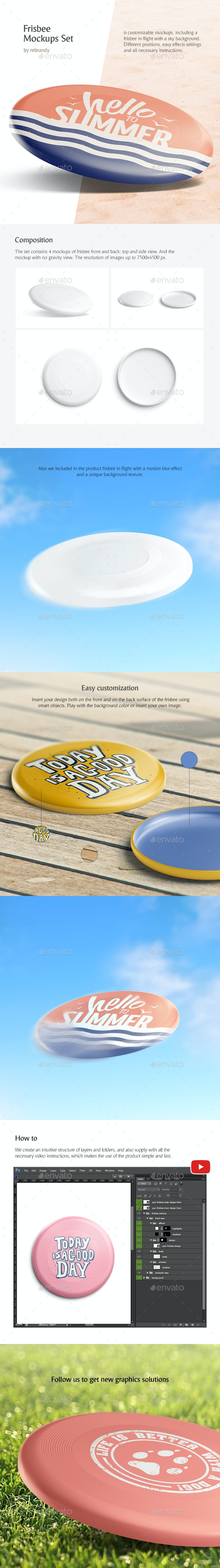 Frisbee Mockups Set - Product Mock-Ups Graphics