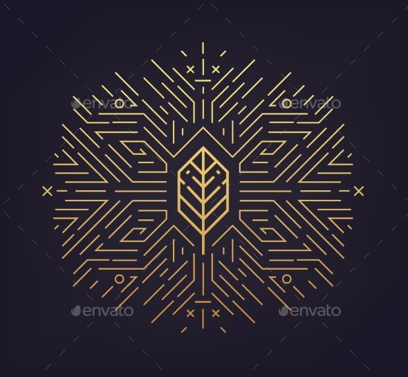 Vector Leaf Linear Icon Abstract - Abstract Conceptual