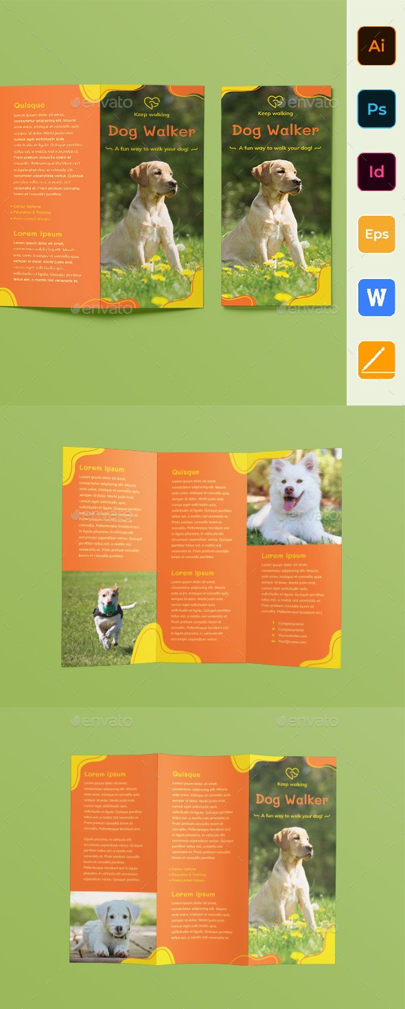 Dog Walker Trifold Brochure - Corporate Brochures