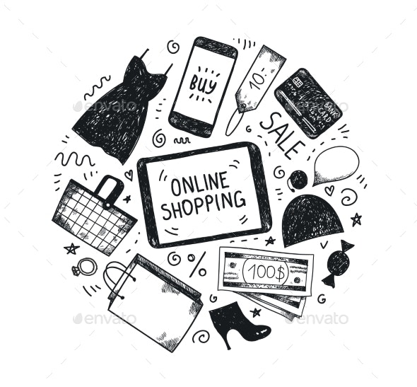 Vector Hand Drawn Fashion Online Shop Icons Set - Miscellaneous Vectors