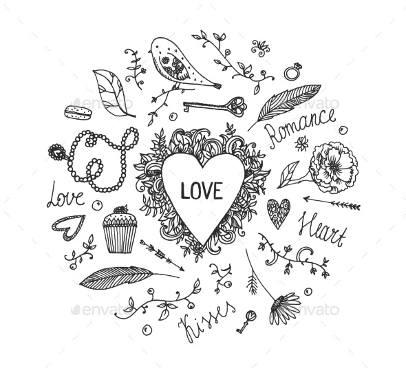 Hand Drawn Vector Romantic Set - Miscellaneous Vectors