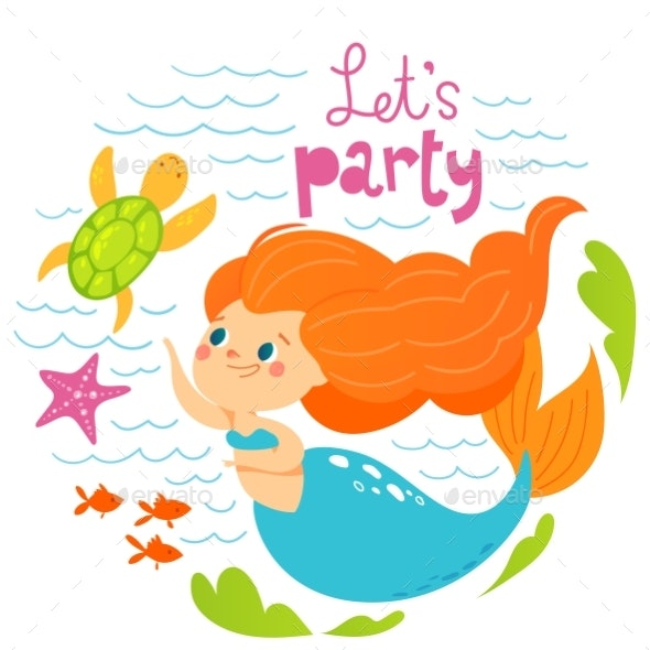 Cartoon Style Vector Summer Design with Mermaid - Animals Characters