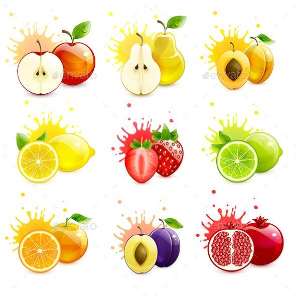 Set of Juicy Fruits with Splashes of Juice