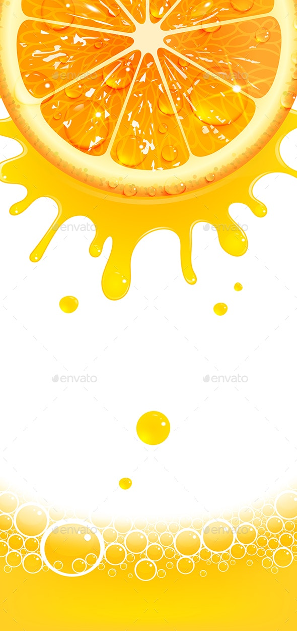 Vertical Banner with Juicy Orange and Splashes of Juice - Food Objects
