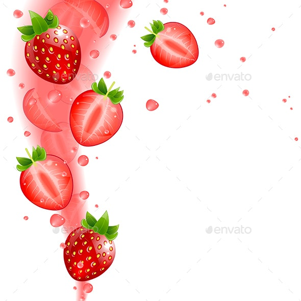 Background of Juicy Strawberries and Splashing Juice - Food Objects