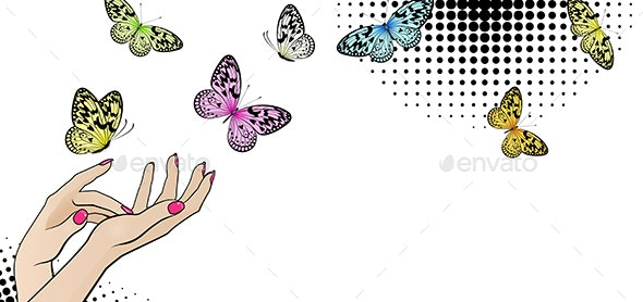 Horizontal Banner with Female Hands and Bright Butterflies - Miscellaneous Conceptual