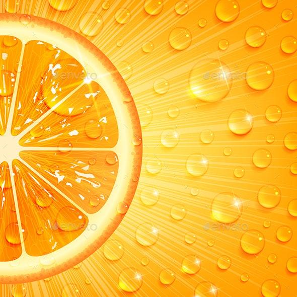 Juicy Orange Background - Food Objects