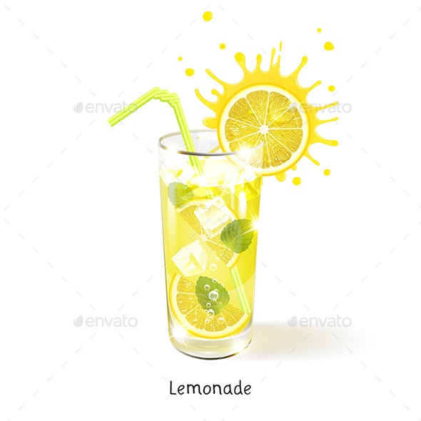 Refreshing Lemonade in a Glass - Food Objects