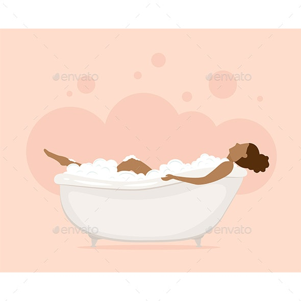 Woman in Bathtub in Pink Bathroom - People Characters