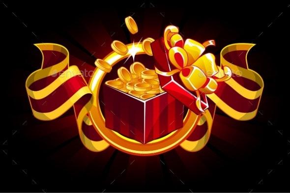 Gift Box with Coin and Award Ribbon Cartoon - Decorative Symbols Decorative