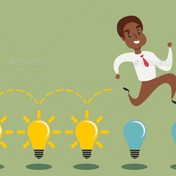 Cartoon Character Jumping on Light Bulbs