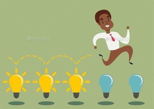 Cartoon Character Jumping on Light Bulbs - People Characters
