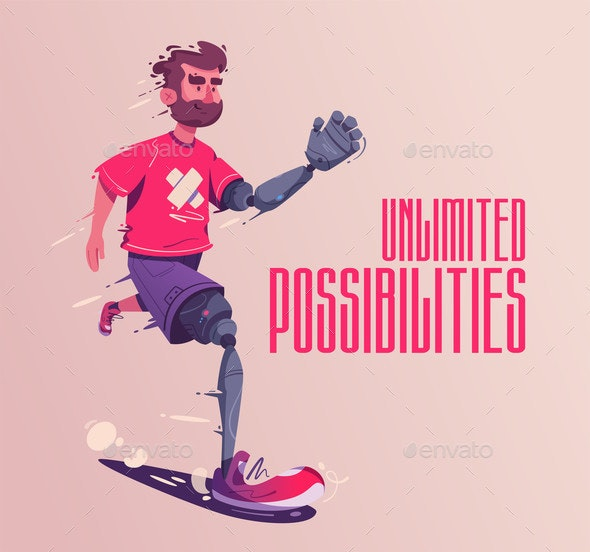 Man with a Prosthesis Is Running Sport Concept - Sports/Activity Conceptual