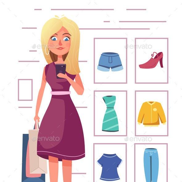 Online Shopping Girl Character Design