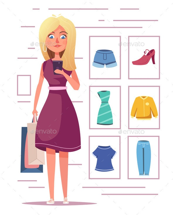 Online Shopping Girl Character Design - Retail Commercial / Shopping