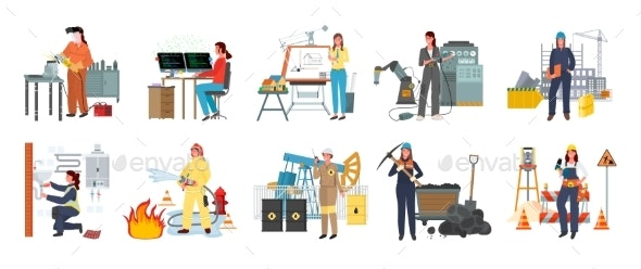 Modern Women Professions - People Characters