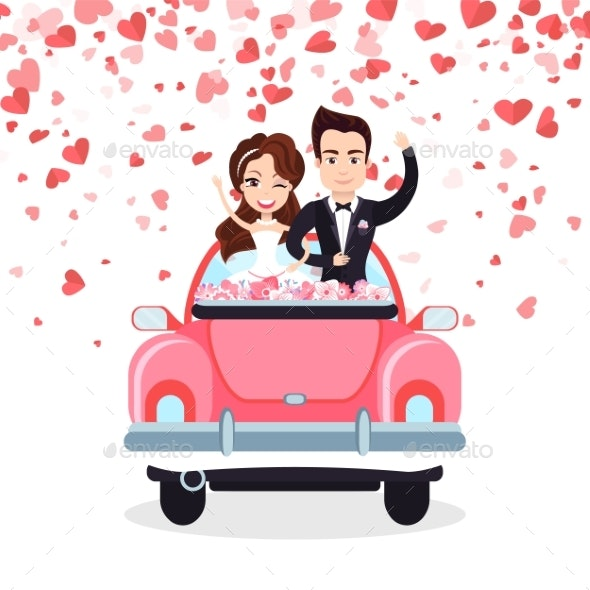 Wedding Card with Hearts, Groom and Bride Vector - Weddings Seasons/Holidays