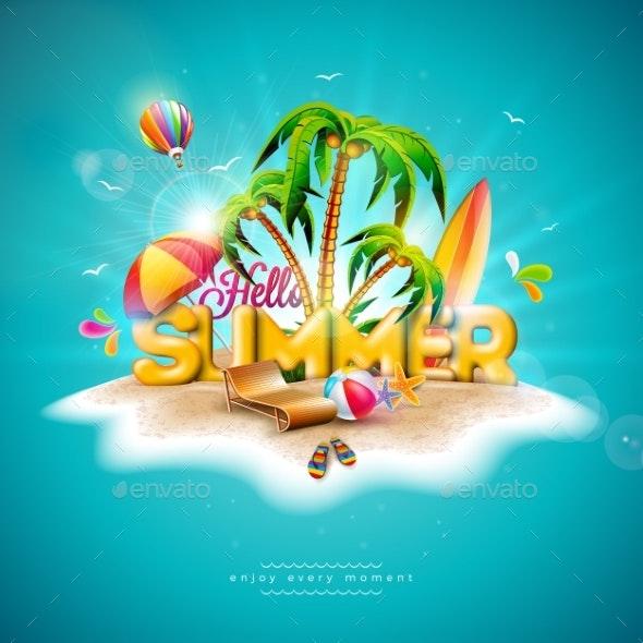 Vector Hello Summer Holiday Illustration - Seasons Nature