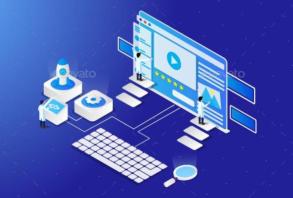 Building a Website Isometric Illustration - Web Technology