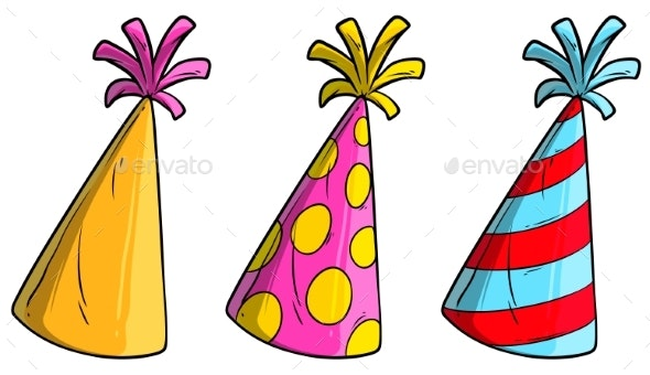 Cartoon Holiday Cone Hat Vector Icon Set - Man-made Objects Objects