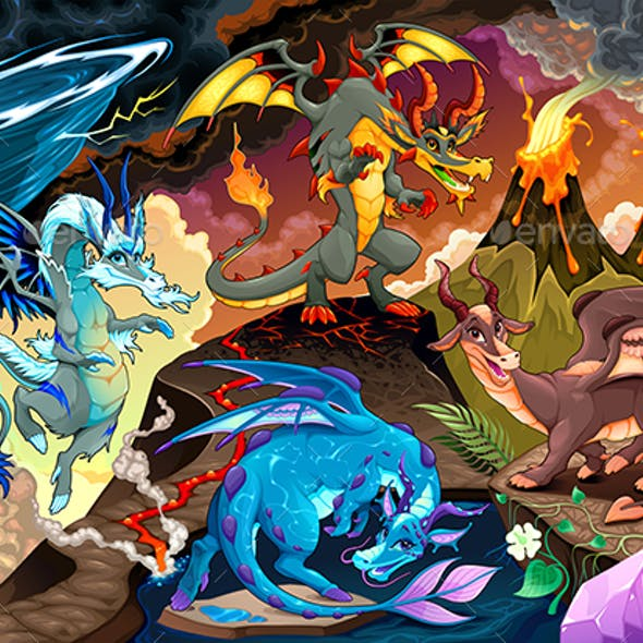 Cycle of Air, Earth, Fire, and Water with Each Dragon