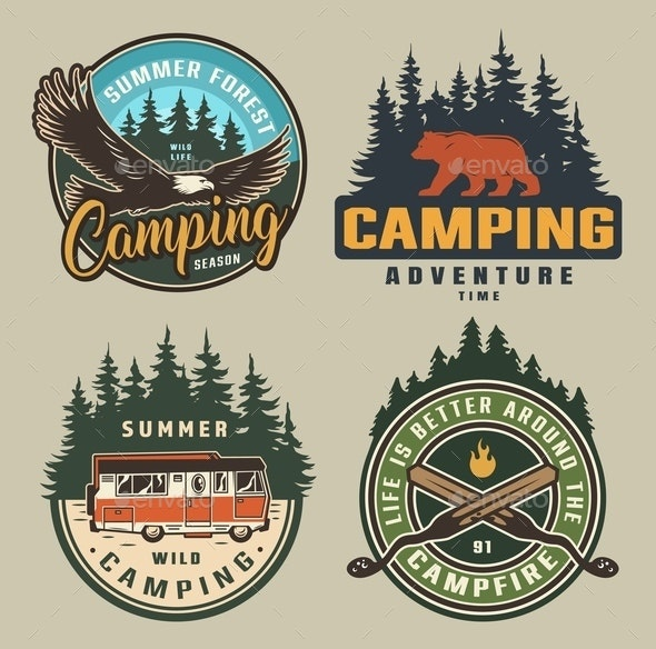 Vintage Summer Camping Colorful Badges - Animals Characters