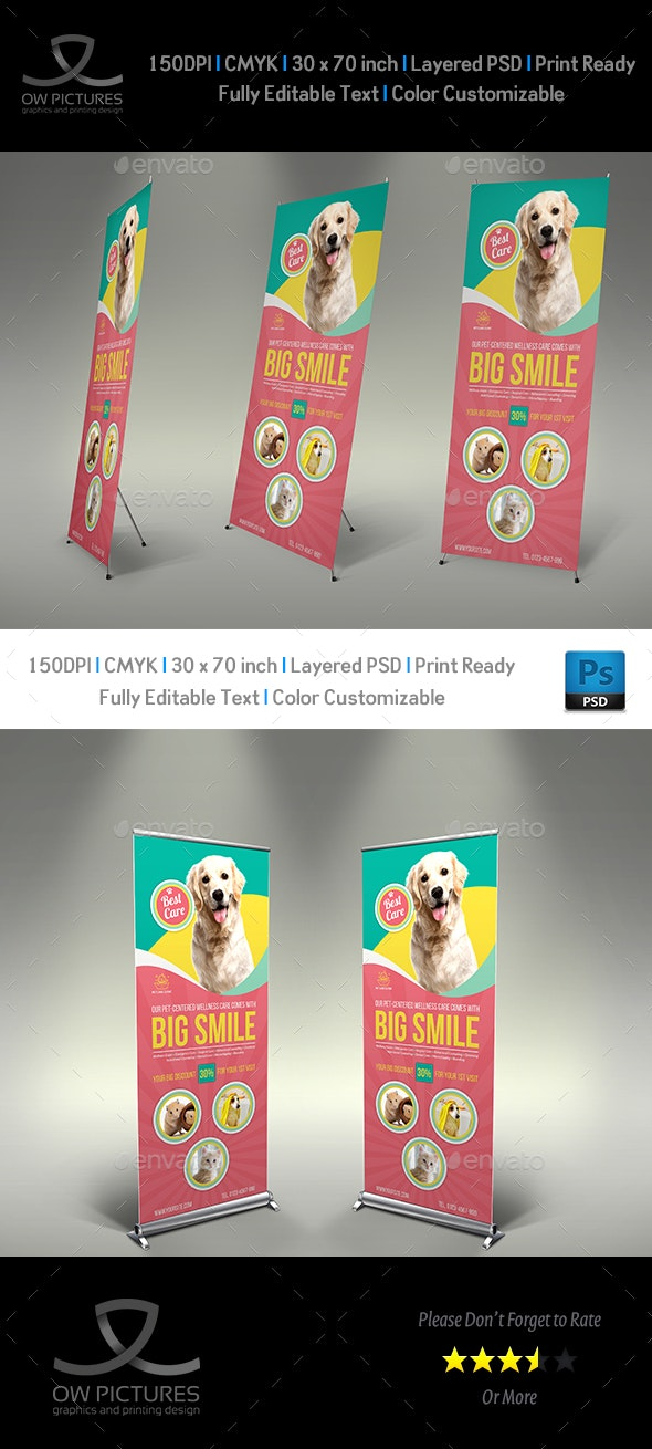 Pet Care Center Signage Banner Roll Up Template Vol.2 - Signage Print Templates