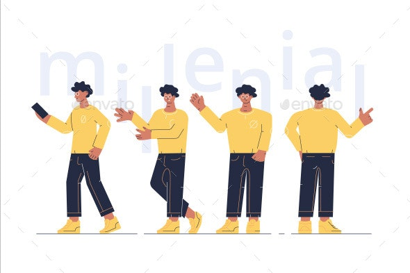 Man Character Showing Different Gestures - People Characters