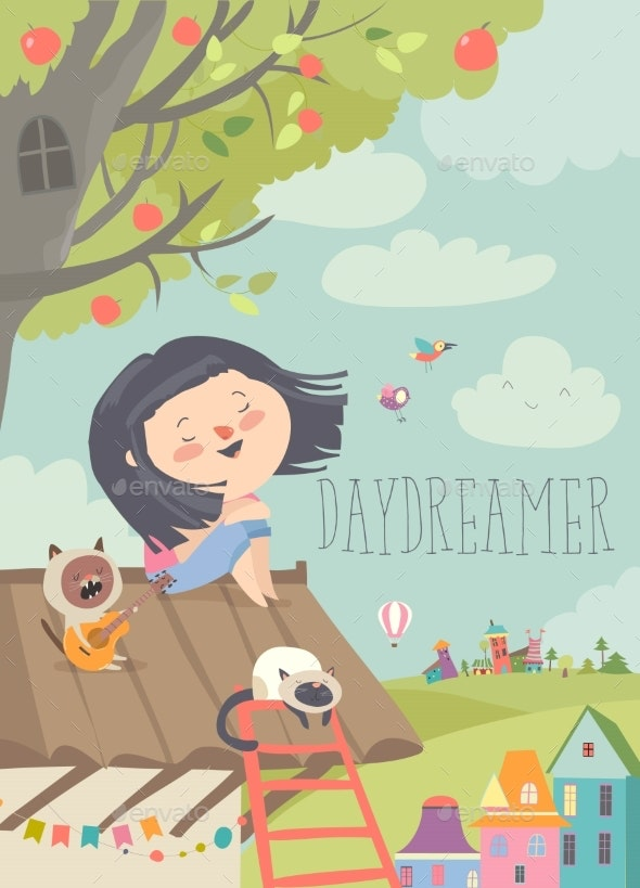 Pretty Daydreamer Sitting with Cats on the Roof - People Characters
