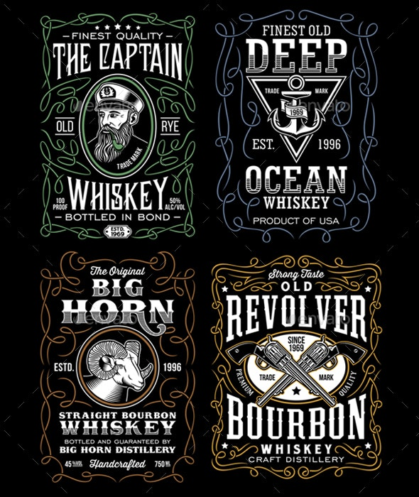 Vintage Whiskey Label T-Shirt Design Collection - Retro Technology