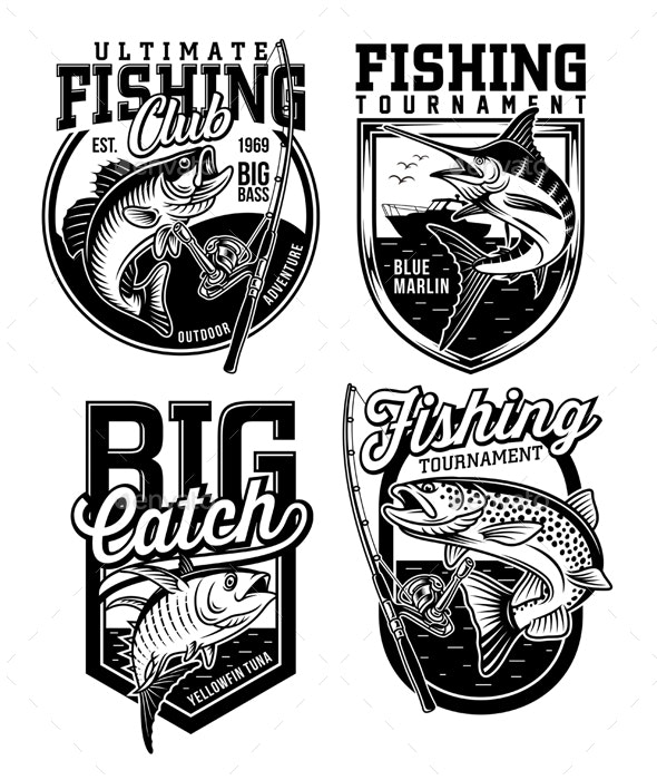 Set of Fishing Emblems - Sports/Activity Conceptual