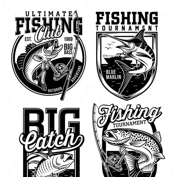 Set of Fishing Emblems