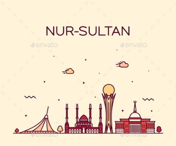 Nur-Sultan Astana Skyline Kazakhstan a Vector City - Buildings Objects