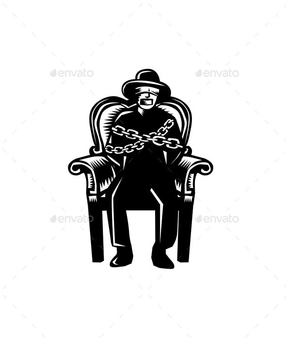 Man Gagged Chained to Grand Arm Chair Woodcut - People Characters