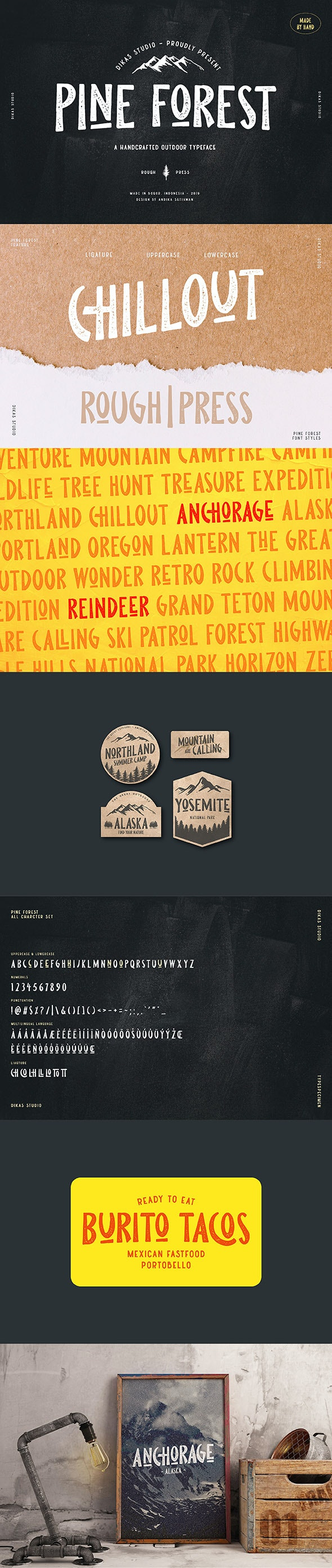 Pine Forest - Outdoor Typeface - Grunge Decorative