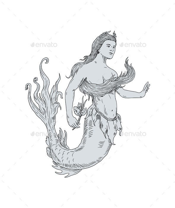 Vintage Mermaid Holding Flower Drawing - Miscellaneous Characters