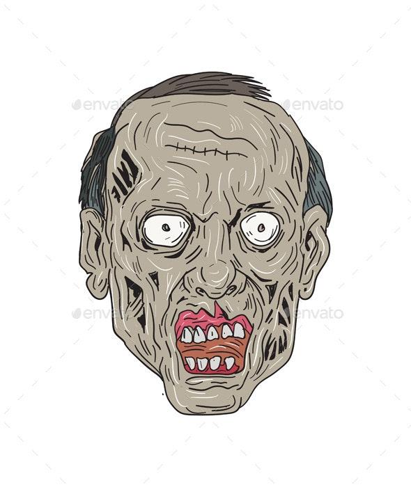 Zombie Head Front Drawing - Halloween Seasons/Holidays