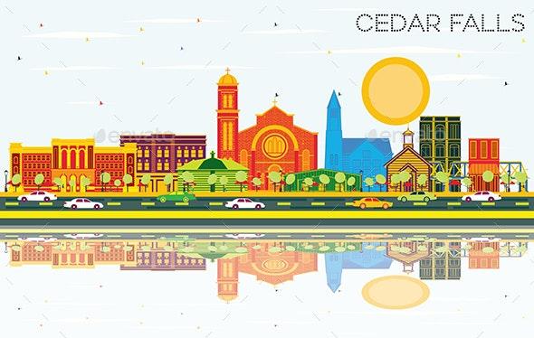 Cedar Falls Iowa Skyline with Color Buildings - Buildings Objects