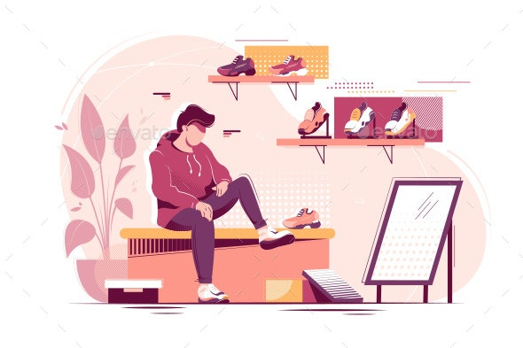 Flat Young Man Trying Sneakers in Store - Sports/Activity Conceptual