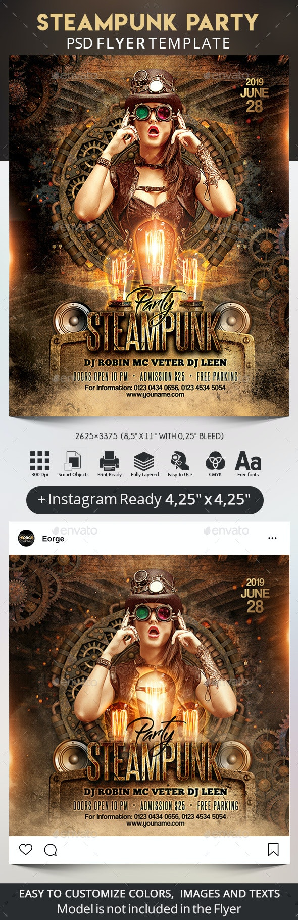 Steampunk Party Flyer + Instagram Post - Clubs & Parties Events