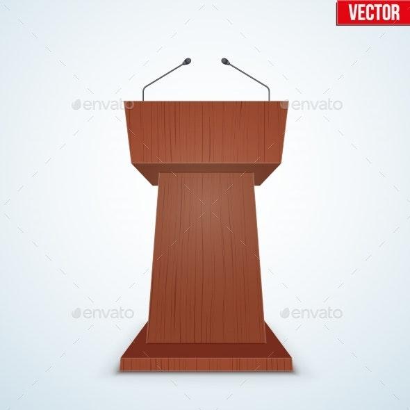Wooden Podium Tribune with Microphones - Industries Business