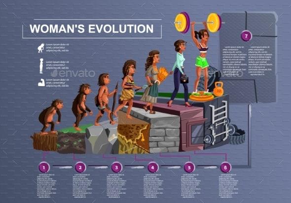 Woman Evolution Time Line Vector Cartoon - Miscellaneous Conceptual