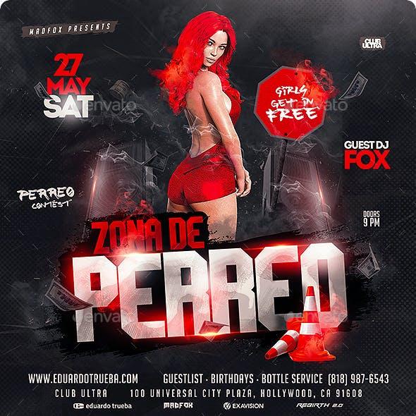Reggaeton Zona de Perreo Party Flyer