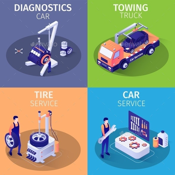 Set of Isometric Cards with Services in Car Garage - Services Commercial / Shopping