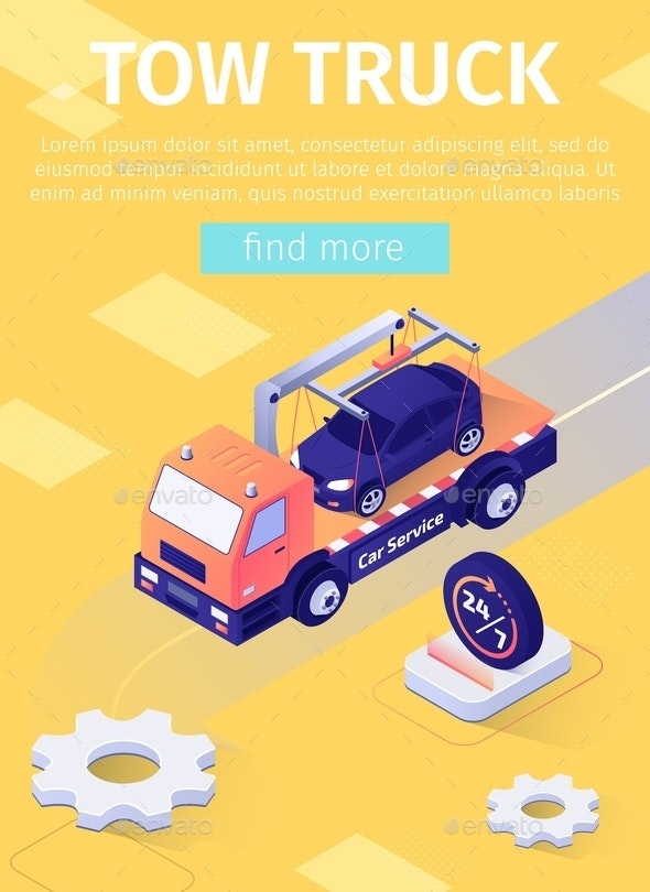 Poster with Fulltime Tow Truck Assistance Offer - Industries Business